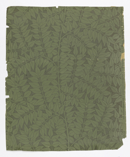 Repeat of simple laurel leaf clusters. Printed in green, pattern reserve-printed in grey.