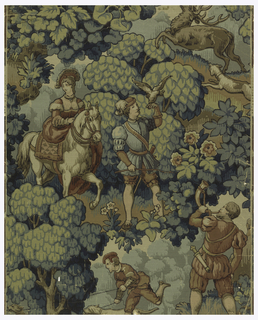 Imitation tapestry weave with hunt scenes, falconer, hounds and stag within setting of dense foliage.