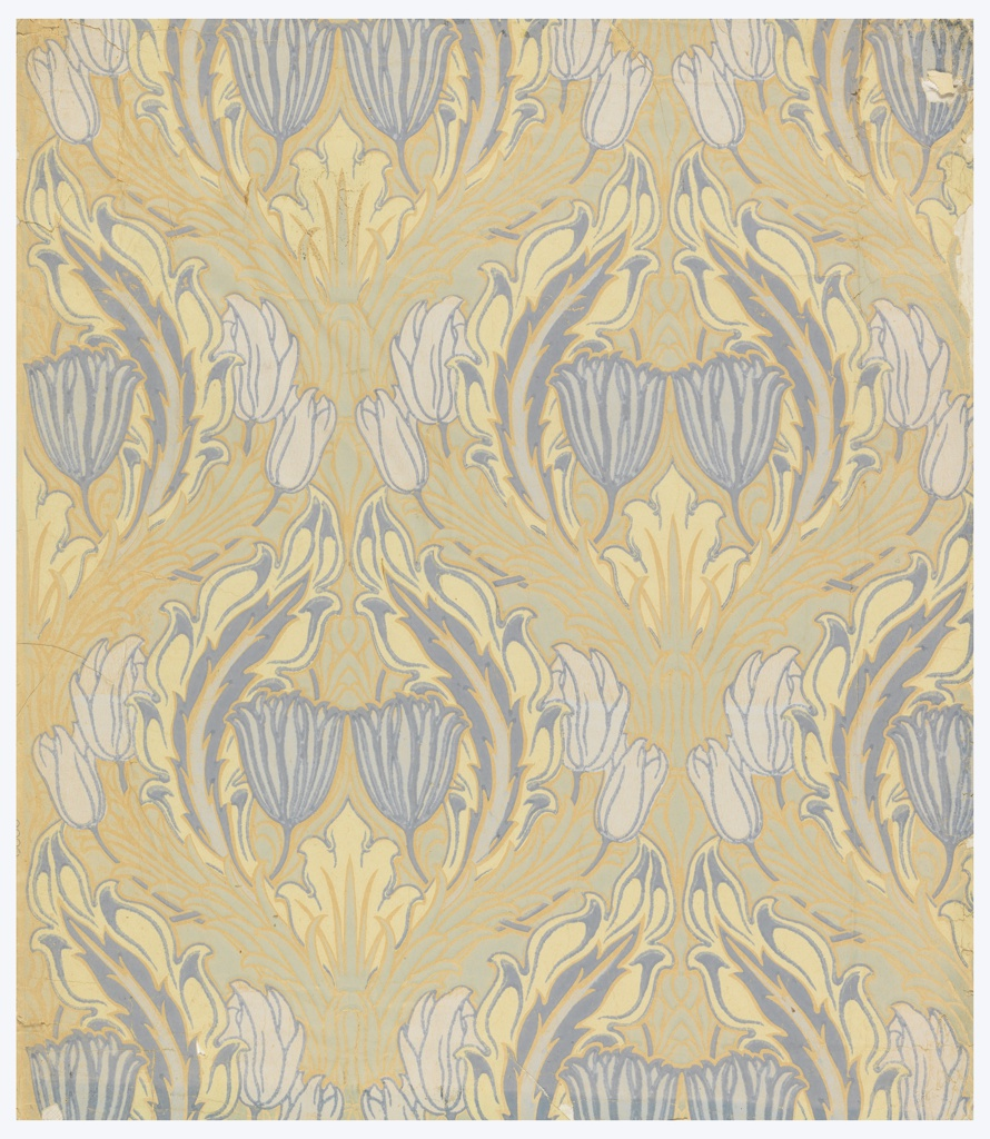 Very stylized blue tulips, white tulips and acanthus leaves forming cartouche. Light blue design in background. Appears to be printed on ungrounded paper. Art nouveau in style.