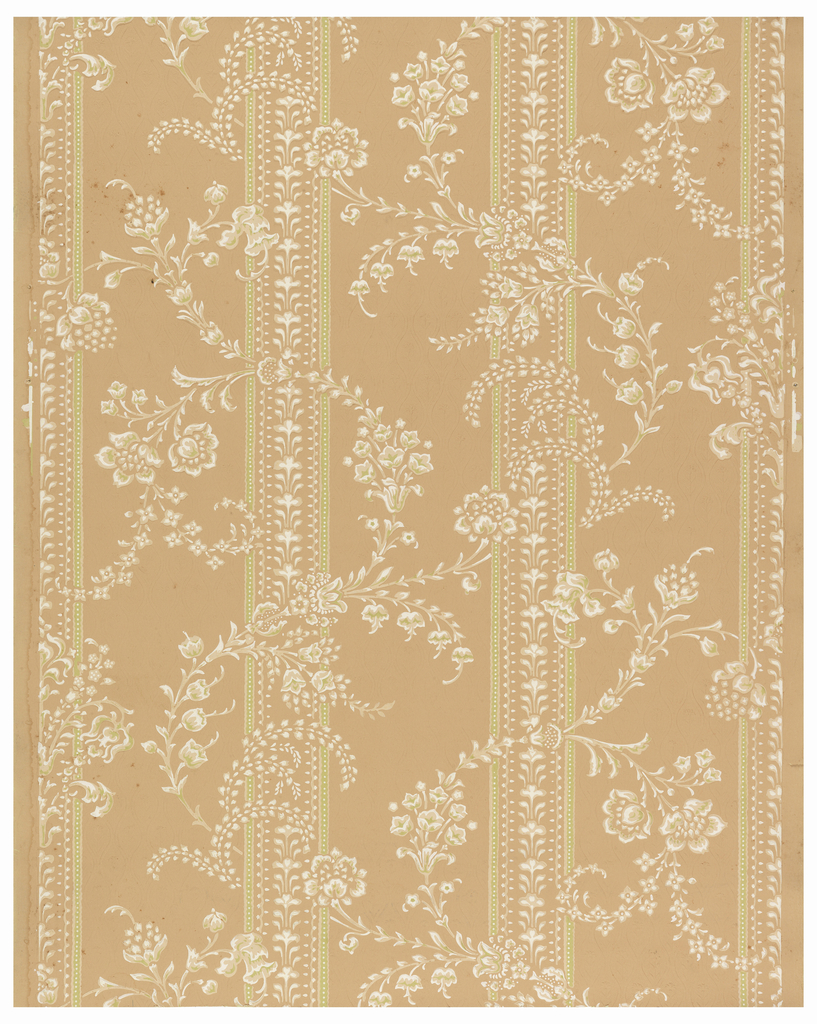 Striped floral with ellipses and posies. Printed in chartreuse, coral, peach and white.
