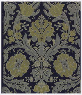 Paper has textile-inspired design of large-scale stylized floral and foliate motifs printed in turquoise, mustard, and beige on navy ground and embossed.  Raised motifs textured like textile surfaces. Background embossed with texture to simulate woven textile.