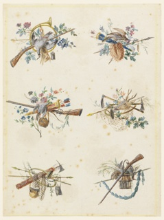 Six designs for hunting trophies. Upper left: French horn, rifle, dead pheasant and rabbit, along with wild flowers; upper right: arrows, blue quiver, a live pheasant, and wild flowers; center left: pink and gold quiver with arrows, a rifle, and hanging canteen, and a bird, surrounded by wild flowers; center right: stag's head, pickaxes, an arrow, a French horn, and a net, some wild flowers; lower left: pickaxe and fasces, netting, French horn, canteen, leather pouch, twigs; lower right: dead rabbit and pheasant in a basket, rifle, laurel garland supported by a staff.