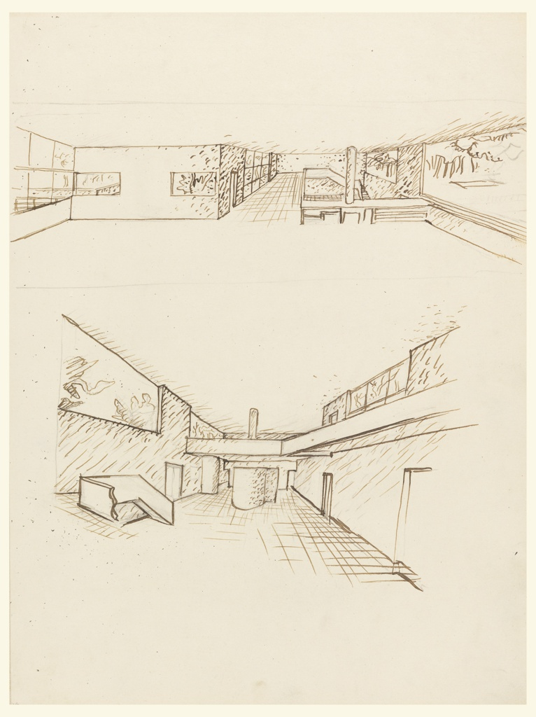 Two early concept drawings for villa, in perspective, of two levels of interior with mezzanine, one view from above, one view from below opening to upper level.  Ground floor with partial stair showing at left, enclosed stairs at center, rear, mezzanine center rear and right, strip windows on upper level, left and right.  Upper level showing mezzanine with stairs leading down at far right, strip windows at left and right, and walls to outside terrace on left, adjacent to mezzanine walkway.