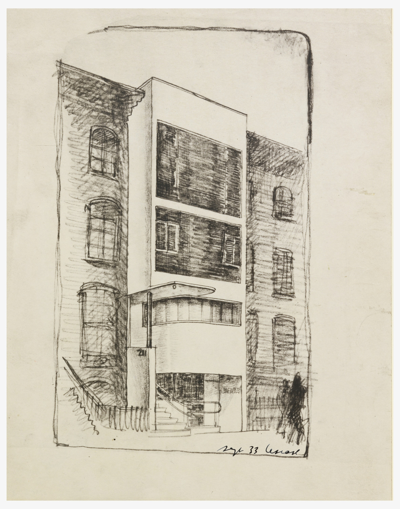 Perspective rendering of four-story house of William E. Lescaze.  Office with glass block on ground floor.  Rounded-edge canopy over stairwell with curved banister at left, leading to residence above.  Second floor with horizontal row of windows that curve at left edge.  Third floor with glass block and two casement windows.  Fourth floor all glass block.  Building projects in front of existing, flanking architecture.  Rendering includes two figures at lower right.