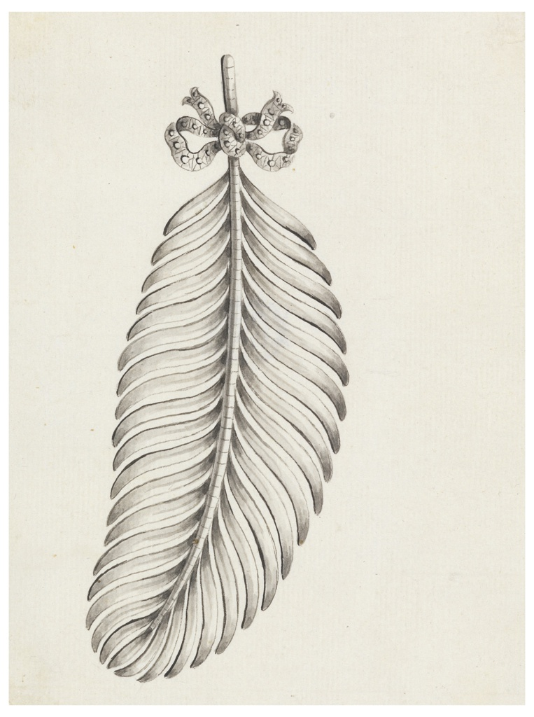 Jewelry design for a brooch in the shape of a feather. Feather positioned vertically and curving to the right at the top with a small knot around the shaft.