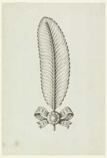 Jewelry design for a hair ornament or brooch in the shape of a feather. Feather-shaped ornament curved to the left, with knotted bow and disk decorated with stones, at stem. Bevelled corners.