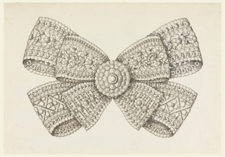 Jewelry design for a brooch. Two bows—one larger and one smaller, stacked upon one another. Both decorated with patterned bands of stones, S-curves, rhomboids, X's, and flowers. At center is a disk composed of concentric bands of scalloped stone petals with a central stone.