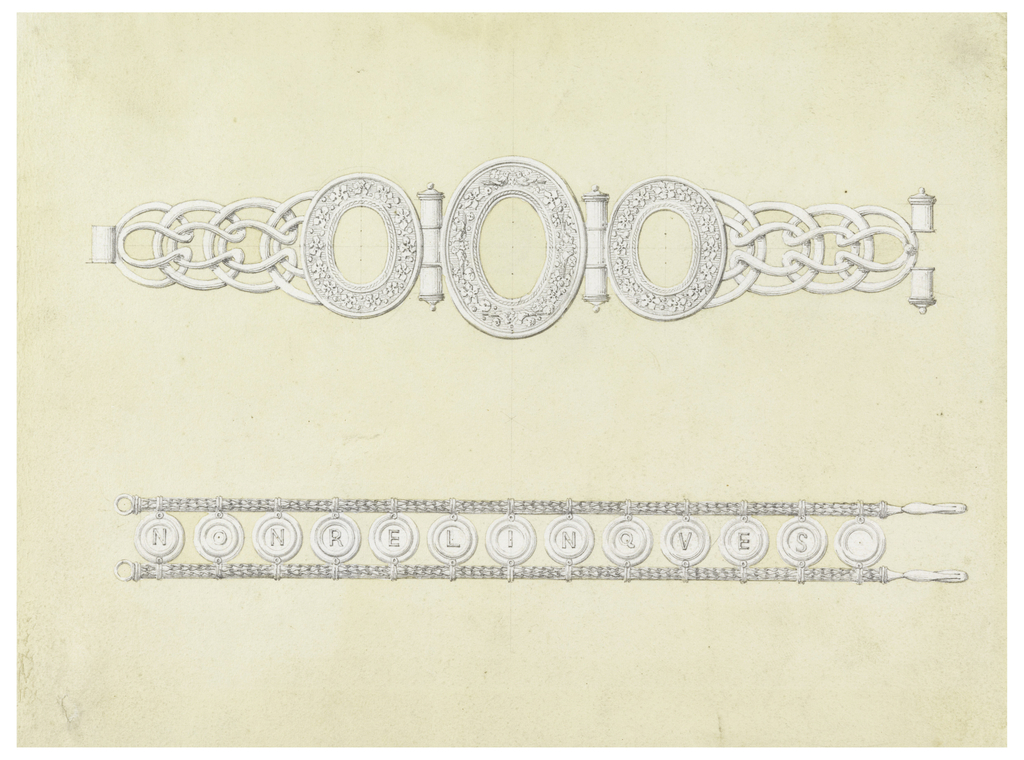 One above the other. Above: in the center an oval frame joined with a smaller similar frame at the sides, the bigger parts of which consist of chains. Below: between two thin chains are suspended twelve disks; in eleven of which is a letter each of: NONRELINQVES.