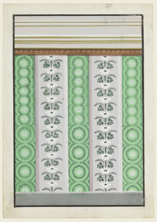 A colored ovolo is beneath the entablature. Narrower and broader stripes alternate. Candelabra of flowers, repeating a single motif, framed alternately by moldings, decorate the broad stripes. For the narrow ones are suggested rows of concentric circles, enclosed laterally by arches. The motif is shown in a bigger scale below, in a smaller one above.