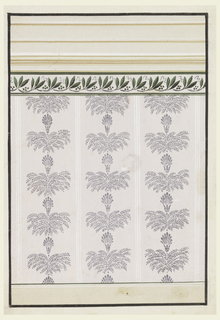 A dado is shown at the bottom, a frieze with laurel leaves and seeds and an entablature are on top. The panel shows three stripes with bunches of leaves beneath calyxes with palmettes.