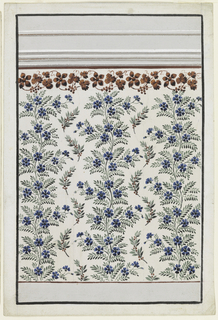 A dado is shown at the bottom, an entablature on top. The panel is decorated with vertically waved stems with blue petals and boughs. In the intervals are boughs with leaves and red seeds. On top are vine garland and a purple stripe.
