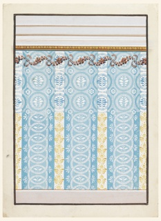 A dado is shown at the bottom, an entablature with a gilt ovolo at the bottom, on top. The lower part of the design suggests for the panel a division in vertical stripes. Broad blue stripes alternate with narrow white ones. Palmettes are suggested for the decoration of the latter ones. The broad stripes are subdivided in a broad central one of a lighter blue and two lateral narrow ones. These show outwardly directed plant palmettes. Vertical chains decorate the broad stripes, with plants in the painted ovoids. The upper part of the design suggests alternatively rows of circles, with plants in an inner disk. Disks with petals are in the wedges in the intervals of the circles. Two alternate designs are suggested for the plants, differing in the design and the coloring. The circles alternate as blue ones and blue and white ones. The background is formed by white lines upon blue and blue lines upon white. A colored garland crosses the design beneath the top.