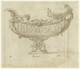 Boat-shaped vessel supported by baluster pedestal on either side of which two nudes sit with arms raised appearing to support the vessel.  The curving body of a long-necked winged harpie rests beneath the spout or prow of the ship.  A harpie or female half-figure at the stern curves outward; her tail curves behind her to form the vessel's handle.  The central body of the vessel displays a figural frieze.  Other decorative elements include a ram's head (in the center) and an eye (towards the stern of the vessel).  On verso, pen and ink framing lines along right and left edges and across upper edge.