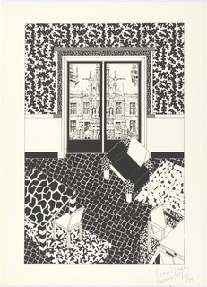 Print, Sitting Area, with View of the City