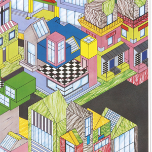 Poster depicts a diptych featuring an aerial view of a town with multicolored buildings on black asphalt. Below, in black ink: TOWN FOR MEMPHIS / GEORGE J. SOWDEN.