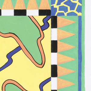 Design for a scarf: Design of yellow ground layered with blue curved lines and green splotches bordered with peach color; design is framed by saw-tooth pattern in green and peach, black and white lines, and in the corners crackle pattern in blue and yellow.