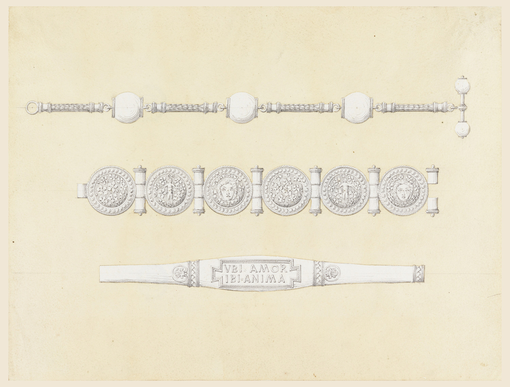 """Three jewelry designs, each below the other. The watch chain has three balls connected by thin pieces of chain. The first bracelet has six sheild-like disks connected by joints. The second bracelet has a center section inscribed """"VBI AMOR / IBI ANIMA."""""""