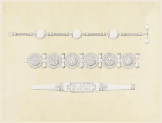 "Three jewelry designs, each below the other. The watch chain has three balls connected by thin pieces of chain. The first bracelet has six sheild-like disks connected by joints. The second bracelet has a center section inscribed ""VBI AMOR / IBI ANIMA."""