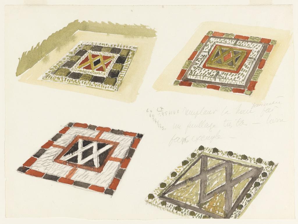 Drawing, Four Studies of Garden Parterres