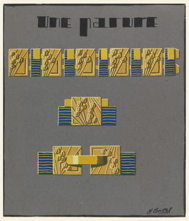 Necklace, earring and bracelet arranged vertically on page. At top, necklace composed of four rectangular links in gold and blue striped with gold. Incised geometric shapes decorate the links. Earring and bracelet similarly constructed.