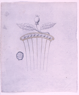 The crest is formed by a branch with two leaves and a bud, attached to a frieze with a row of diamonds; its framing is of metal. The stripe below being engraved with a zig zag. Seven tines.