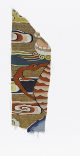Fragment showing jaw and chest of an animal, with clouds in background.