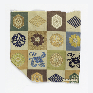 White twill background with polychrome checkerboard woven in the weft.  Each square has a different design based on lozenges, hexagons and flowers.  In brown, orange, green, blue silks and gold metallic wrapped threads.