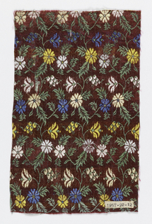 Red ground with flower and vine pattern in green, light blue, dark blue, white, light yellow and dark yellow.