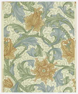 Flowers and scrolling foliage with pale foliage arabesque underlay. Printed in orange, blue and green on cream ground.