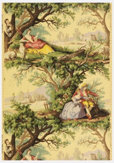 Romantic landscape vignettes in style of Watteau or Boucher. A shepherdess tends her flock seated beneath a tree. Behind, a man peeps through the branches watching her. In the distance is an old fort or castle. Above, a pair of seated lovers regard a bird in a cage which the man holds. Small village in background.