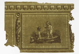 A horizontal rectangle shows two children. The boy has placed a board over a small brook and the girl is in the act of crossing over. A floral rope marks the seperation of the panels which repeat horizontally. Printed in four colors on brown ground.