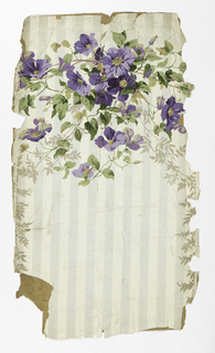 Trailing foliage with purple clematis grouped along top edge. Printed over gray and white striped ground.