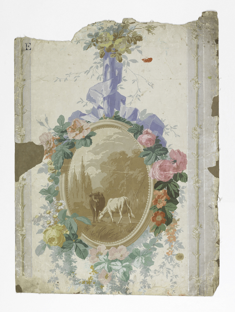 a and b) On white and gray stripes, an oval frame in shades of brown, around scene of cow, goat. Frame suspended by lavender ribbon, draped with flowers.