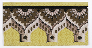 Architectural elements; a) column tops and gothic arches in shades of pink, shades of brown, black, white over small scale yellow pattern of intertwined bandings with alternating quatrefoil rosettes in centers of figures formed by intersections; b) apparently a column to fit under this or a similar frieze though the background pattern differs and columns are too wide for capital.  H# 457