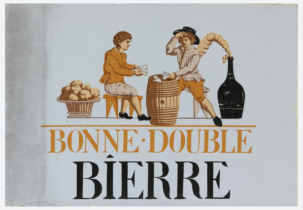Two figures, sitting on benches, playing cards on a barrel, to the left sits a full basket, to the right sits a black jug releasing smoke.