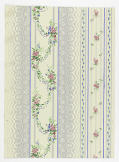 A floral striped paper. Wide bandings of wavy gray lines alternate with one banding of swagged floral garlands, one of rose sprigs over stripes formed of gray dashes. Blue dots, stripes, leaves, pink flowers, green foliage, on a white ground