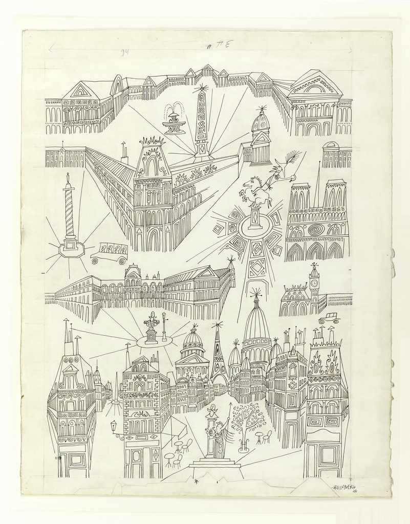 A linear design, illustrating various recognizable monuments of Paris, but drawn in a lively fashion, without attempt at scale or accuracy of perspective. Included are: Place de la Concorde, Louvre, Notre Dame; below: Pantheon, Eiffel Tower, Sacre-Coeur.