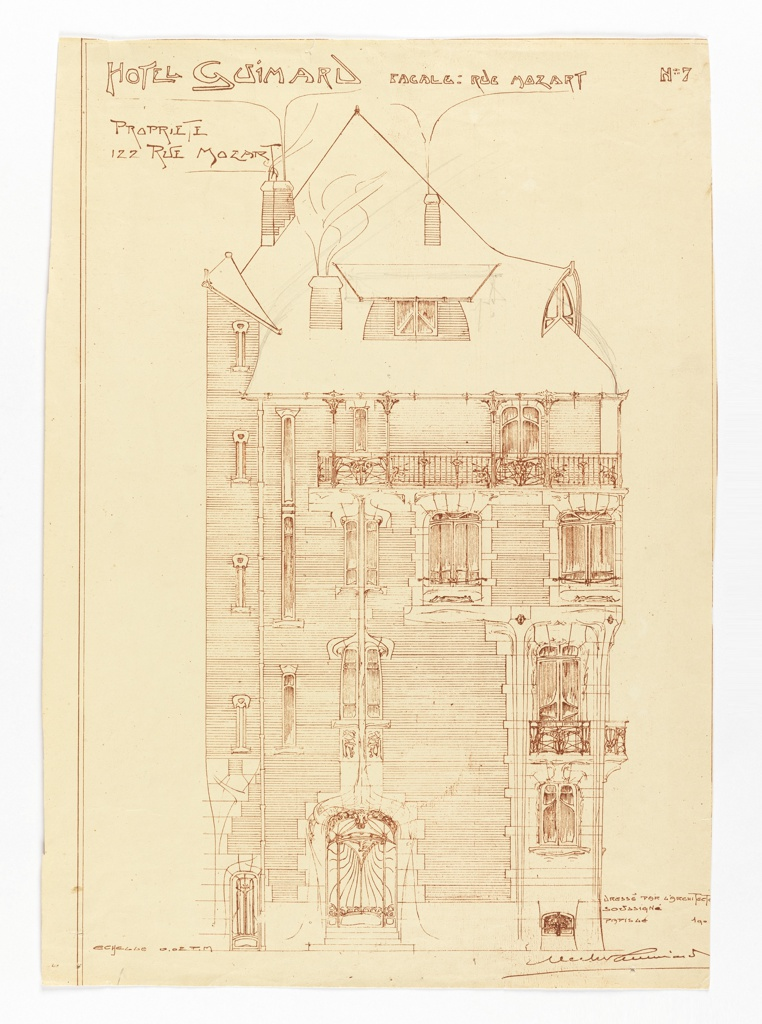 View of the elevation of the  facade of the house of Hector Guimard on rue Mozart. Constructed of brick with limestone trim and cast bronze balconies. Inscribed at top and signed in lower right corner.