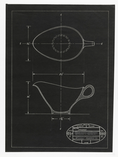 Vertical rectangle. One of four designs for tableware, intended to be executed in plastic. Cream pitcher. On black paper, outline of cream pitcher designs: elevation and top view, with annotations of dimensions. In oval stamp, some printed and some handwritten text: date 4/15/58; scale ACTUAL; dwg. title CREAMER; job no. 1354; dwg. no. 7; for BOONTON MOLDING Co.; revised; drawn by DFL; aprvd. by BK; at center printed: BELLE KOGAN ASSOCIATES / 145 East 35th St. New York, N. Y.