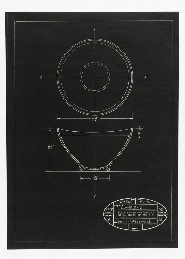 Vertical Rectangle. One of four designs for tableware, intended to be executed in plastic. Sugar Bowl. On black paper, outline of sugar bowl design: elevation and top view, with annotations of dimensions. In oval stamp, some printed and some handwritten text: date 4/15/58; scale ACTUAL; dwg. title SUGAR BOWL; job no. 1354; dwg. no. 5; for BOONTON MOLDING Co.; revised; drawn by DFL; aprvd. by BK; at center printed: BELLE KOGAN ASSOCIATES / 145 East 35th St. New York, N. Y.