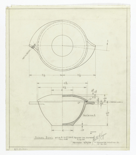 Vertical rectangle. Designs for tableware inteded to be executed in plastic. Sugar bowl. On white tracing paper, design for sugar bowl: elevation and top view, with notations and dimensions. Below, in graphite: SUGAR BOWL # 216A (S-2) (M-14) REVISED PER CONFERENCE / FULL SIZE 3/12/53/ REVISED 6/22/53; Stamped in black ink: DESIGNED BY / Belle Kogan / FOR [in graphite:] BOONTON MOLDING CO. / 3-13-53.
