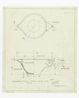 On white tracing paper, designs for creamer: elevation and top view, with annotations and dimensions. Below, in graphite: CREAMER # 216A (c) REVISED 3/16/53 (M-14) / FULL SIZE; stamped in black ink: DESIGNED BY / Belle Kogan / FOR [in graphite:] BOONTON MOLDING CO. / 3/16/53