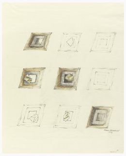Nine designs for brooches, in three rows of three. Each brooch is square and framed. Four are colored in yellow and brown. More detailed than 1980-75-2.