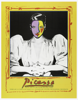 Poster depicting black and white photograph of a woman wearing a white satin dress with puffy sleeves and shoulders. Her face is superimposed by a Picasso abstracted painted face in purple and yellow with red lips. All bordered by yellow with ornate red lines. Below photograph, in red: Picasso / [in green:] FROM THE FUTURE MUSÉE PICASSO, PARIS / FEBRUARY 10 THROUGH MARCH 30 . WALKER ART CENTER, MINNEAPOLIS, MINNESOTA.