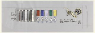 Several objects adhered to a piece of paper, including a row of five plastic vials all filled with different colored beads; to the left is a block of text with an arrow pointing to the fifth vial; five spools of thread (red, blue, silver, green, and yellow), below each is a diamond-shaped label with a number. To the right is a spool of white string held by a metal clamp, next to which is a blue and white label that reads: CARTIER-BRESSON. Below this is a block of text. Signed lower right.