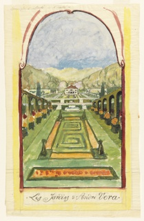 "Perspective view of garden in lunette-shaped frame.  In foreground, single parterre with double Greek key motif with espallied yews at four corners.  Arcades with espallied roses and potted flowers beneath, frame either side of central parterre. In distance, a second, more informal, garden leads to two-story house with red roof in center distance which is framed by terraces and trees. ""Les Jardins d' André Vera"" is written in script in lower margin."