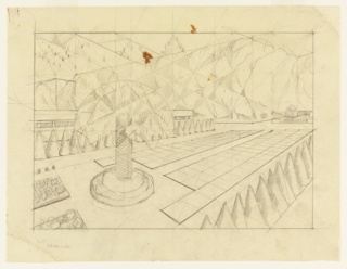 View of rectangular garden in perspective, featuring palm tree (?) in foreground, left.