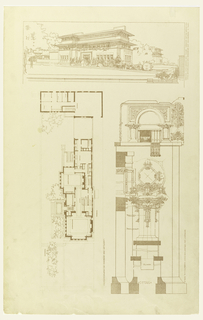 Print, Perspective, Plan, and Detail of Heller House, Chicago, IL