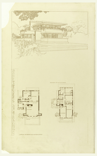 Perspective view of house at top, plus two plan views at left and right, below.