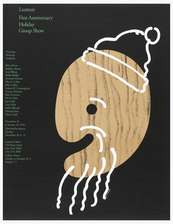 "Poster with black background, depicting a large ""wooden"" painter's palette, situated so that the hand piece looks like a mouth and the hold like an eye. Drawn on it in white is an outline of a Santa hat, eyebrow, and string beard."